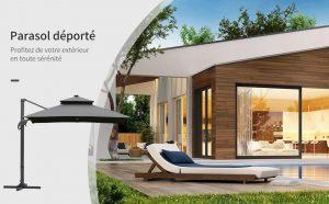 Parasol déporté LED haut de gamme Outsunny